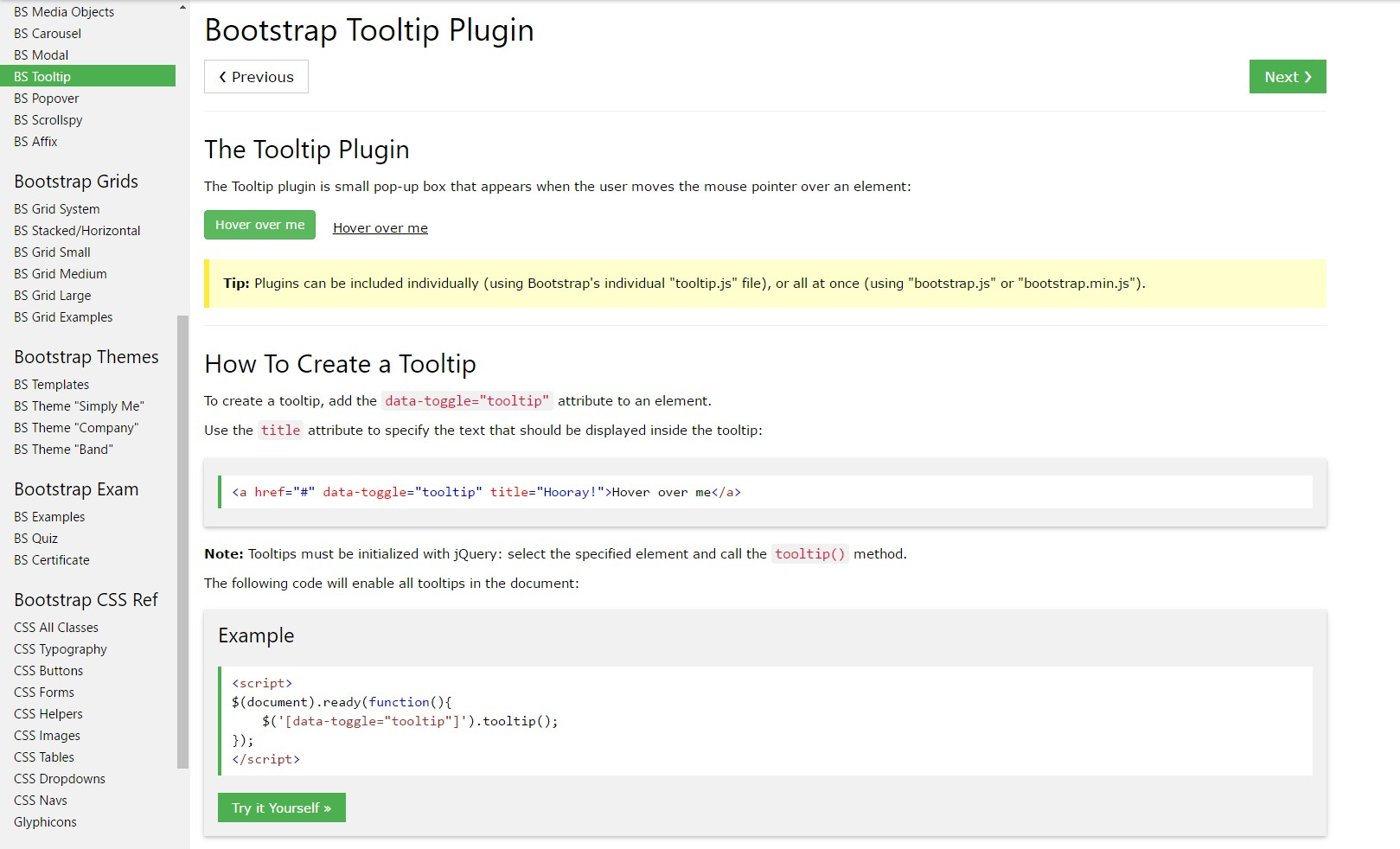 Bootstrap Tooltips  information