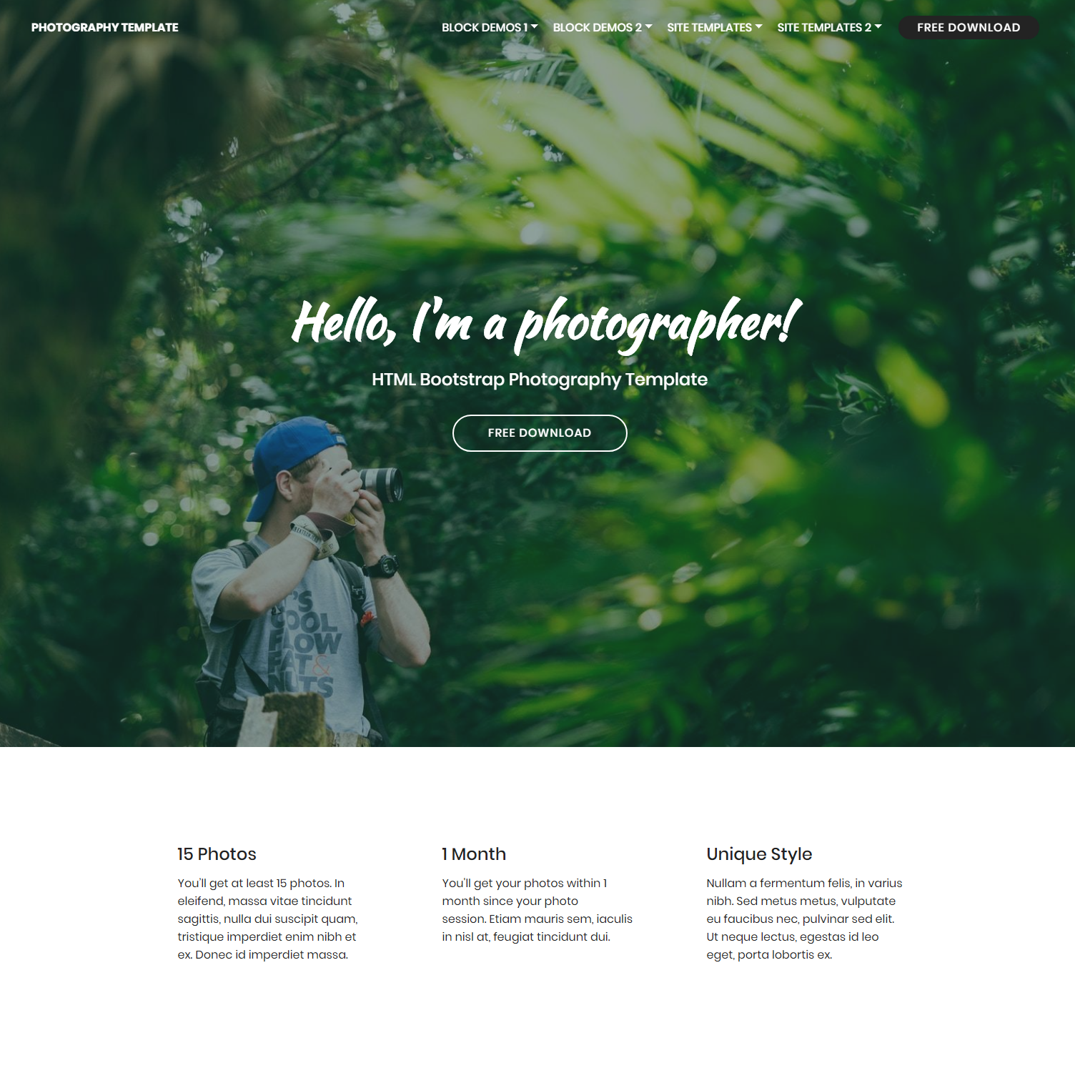 Free Download Bootstrap Photography Themes